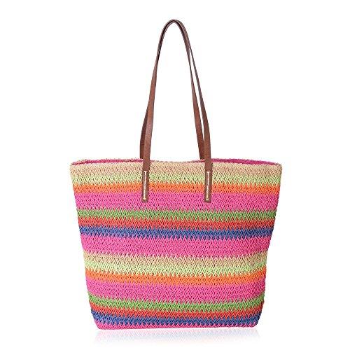 Fuchsia Rainbow Colour Stripe Pattern Straw Tote Beach Bag Size 47x37x34x15.5 Cm