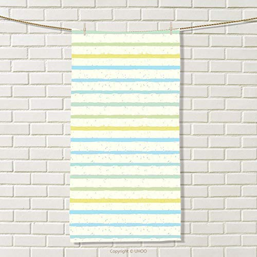 smallbeefly Striped Travel Towel Watercolor Paint Brush Pattern in Pastel Tone with Grunge Effects Nouveau Artwork Quick-Dry Towels Multicolor Size: W 27.5