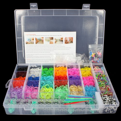 OrangeTag OrangeTag 2200 Colourful Rainbow Rubber Loom Bands Bracelet Making Kit Set with a Convenient Carrying Case