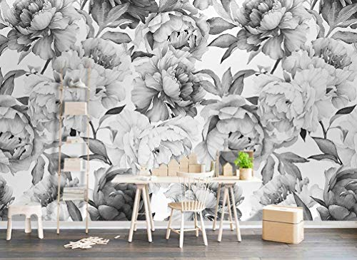 (Murwall Dark Floral Wallpaper Charcoal Flower Wall Mural Monochrome Peony Wall Print Classical Home Decor Cafe Design)