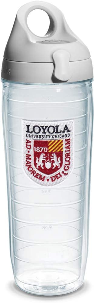 Tervis Loyola Chicago University Emblem Individual Water Bottle with Gray lid, 24 oz, Clear