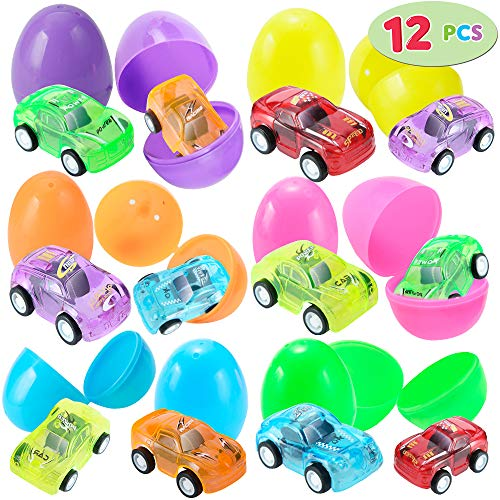 (12 Pcs Filled Easter Eggs with Toy Cars, 2.25