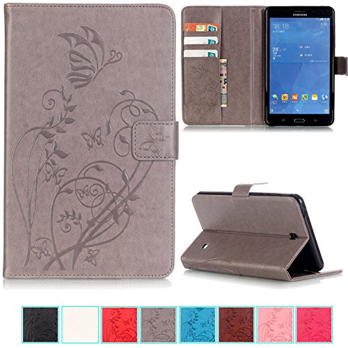 Galaxy Tab 4 7.0 Case-UUcovers Embossed Synthetic Leather Butterfly&Flower Pure Color SeriesMagnetic Closure Stand CaseCards/Cash Holder Cover for Samsung Galaxy Model SM-T230/T231/T235-Gray (4 Color Cover Case)