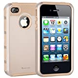 iPhone 4 Case,iPhone 4s Case,Armor Impact Resistant Rugge Durable Shockproof Heavy Duty Protection Dual Layer Case Cover for Apple iPhone 4 and 4s (Gold)