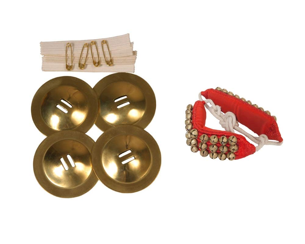 Student Belly Cymbals Package Includes: Dance Finger Cymbals Dancing Brass Zills + Red Ankle Bells Drum Percussion by Mid-East