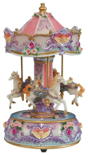 MusicBox Kingdom 14143 Carousel with Angle Bust Music Box Playing 'Love Story'