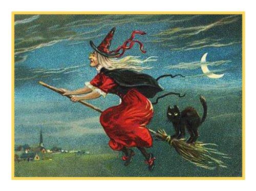 Orenco Originals Flying Witch, Broom, Black Cat Halloween Counted Cross Stitch Pattern (Cat Black Stitch Cross)