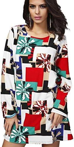 [Patrocinado] QZUnique Plus de manga larga sueltos de la mujer floral de la cachemira Jersey Túnica Vestido Suéter