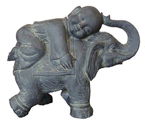 """Hi-Line Gift Ltd Buddha Child on Elephant, 17"""""""