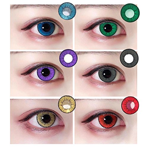 Women Multi-Color Attractive Fashion Contact Lenses Cosmetic Makeup Eye Shadow 1 Piece(Red, Blue, Green, Purple, Brown,Grey) - Red Lenses Contact Halloween For