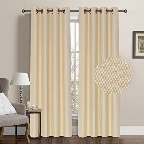 Home Decor Thermal Insulated Solid Linen Curtain Panel, Textured Rich Linen Energy Smart Ring Top Easy Care Window Panel Extra Long, Single Panel, 52W x 108L inch - Beige