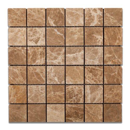 (Emperador Light (Cedar) Marble 2 X 2 Tumbled Mosaic Tile - Box of 5 Sheets)