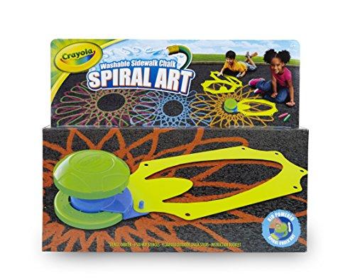 Crayola Washable Sidewalk Chalk Spiral Art Kit 12Piece Outdoor Art Gift for Kids 6 & Up, Includes Sidewalk Chalk, Stencils & Stencil Orbiter for Creating Geometric Spiral Patterns, Washes Away Easily