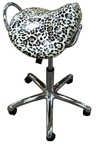 Groom Professional Leopard Print Adjustable Salon Saddle Stool 827026