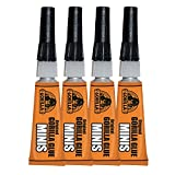 Gorilla Original Gorilla Glue Minis, Waterproof Polyurethane Glue, Four 3 gram Tubes, Brown