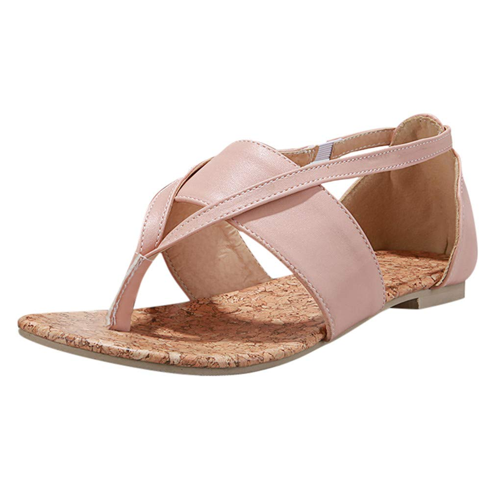 Summer Womens Clip-Toe Flat Sandals Fashion Roman Sandals Casual Ladiess Shoes