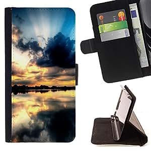 For Samsung Galaxy S6 EDGE (NOT S6),S-type Sunset Beautiful Nature 68- Dibujo PU billetera de cuero Funda Case Caso de la piel de la bolsa protectora