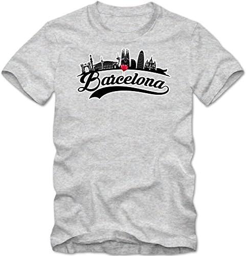 Skyline Camiseta | Hombre | Barcelona | España | Capital | Silueta de la Ciudad | Trotamundos | Viaje a Ciudades | T-Shirt: Amazon.es: Ropa y accesorios
