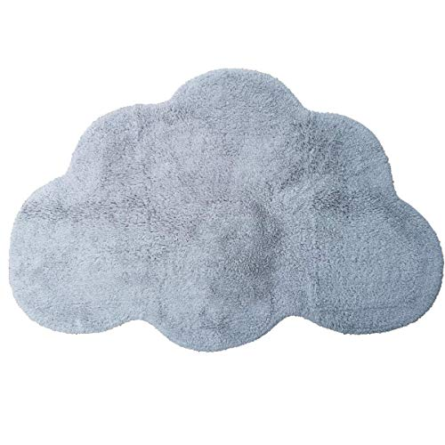 Area Rugs for Kids Cloud Shape Baby Crawling Rugs Carpet Room Warm Soft 100% Cotton Luxury Plush Handmade Knitted Nursery Decoration Rugs 39.5 INCH25.5 INCH Russian Blue (Shaped Cloud Rug)