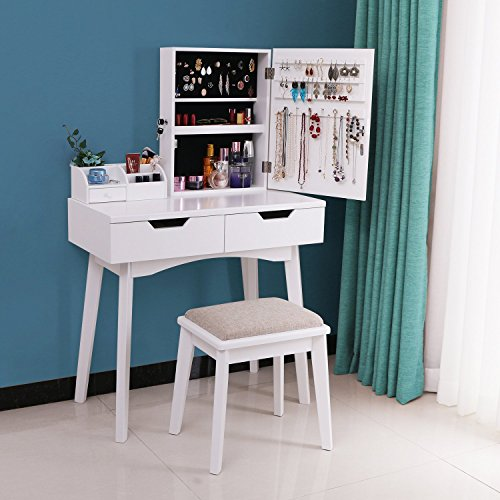 Bewishome Vanity Set With Mirror Jewelry Cabinet Jewelry Armoire