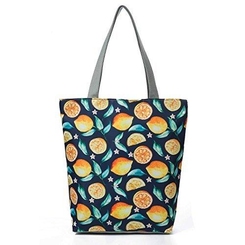 53e386bcafe36 Amazon.com: Casual Tote Bags Female lemon Printed Shoulder Bag Women Canvas  Design Summer Beach Bag Lady: Clothing