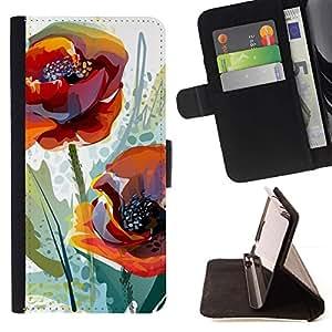Momo Phone Case / Flip Funda de Cuero Case Cover - Flor de la amapola primavera Naturaleza Acuarela - Apple Iphone 5C