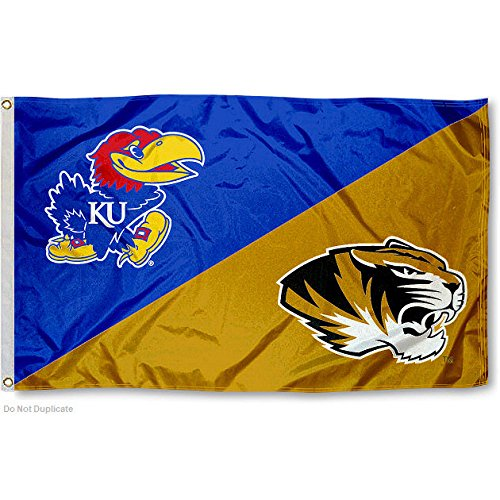 College Flags and Banners Co. Tigers vs. Jayhawks House Divided 3x5 Flag