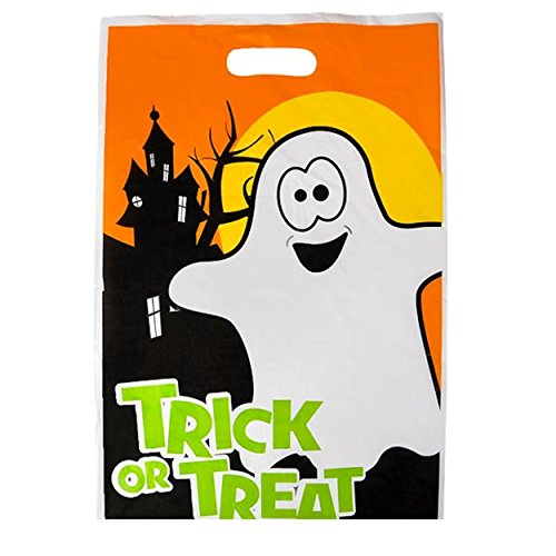 Halloween Ghost Large Plastic Trick Or Treat Bags With Handles (Cheap Halloween Store)