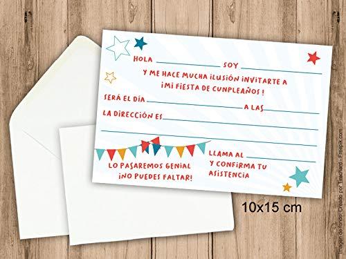 Invitaciones para fiesta de cumpleañ os infantil. Pack de 6 invitaciones 10x15 cm + 6 sobres
