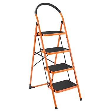 Luisladders 4 Step Ladder Anti-Slip Folding Stool Sturdy Steel Ladder 330lbs EN131 Lightweight with Handgrip Anti-Slip and Wide Pedal
