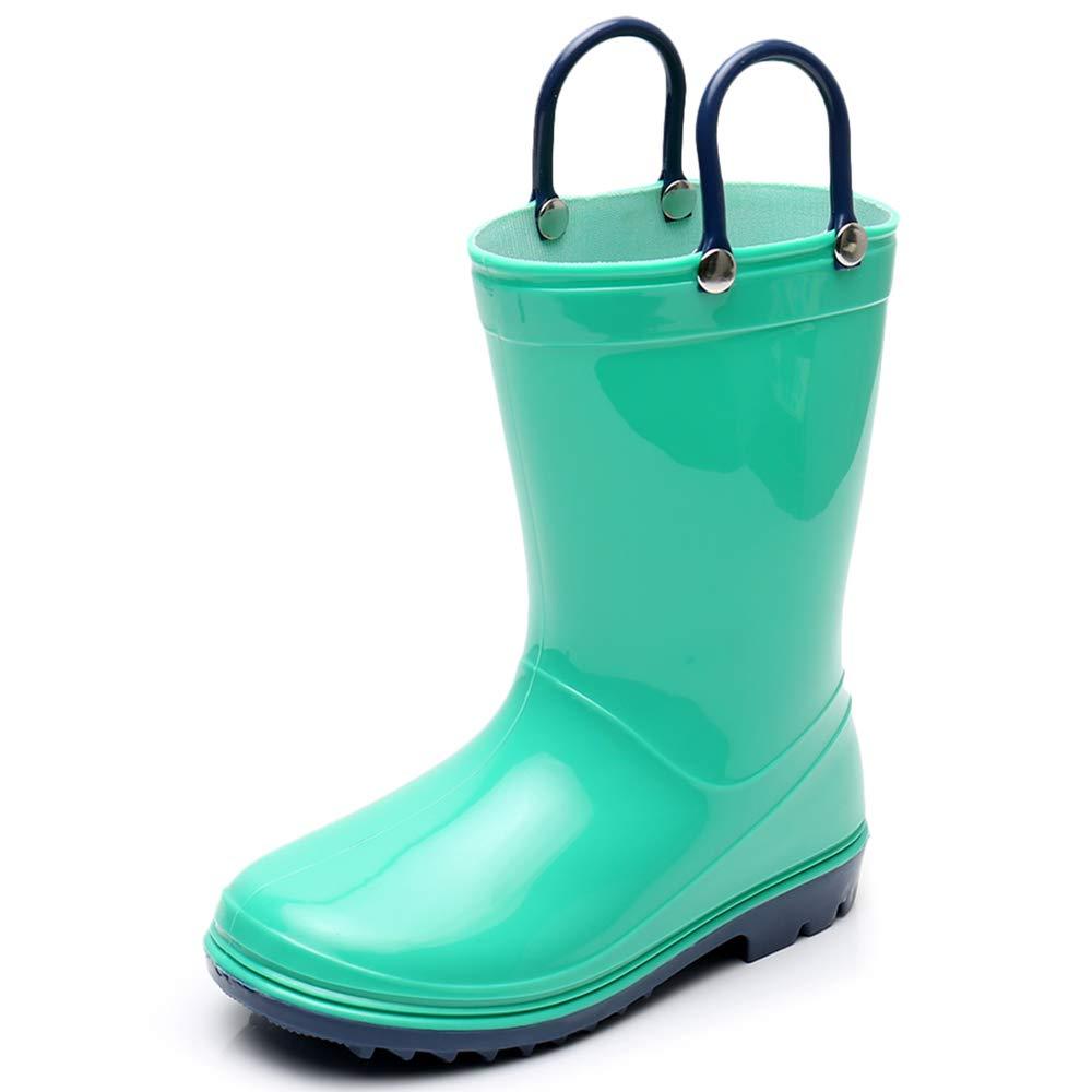 Girls Solid Lightweight Rain Boots with Handle Kids Cute Waterproof Shoes(Grey/Black/Blue/Green) (Little Kid 3M, Green) by TRIPLE DEER (Image #1)
