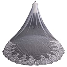 AliceHouse Women's Long Lace Sequins Cathedral Length Wedding Bridal Veils 040
