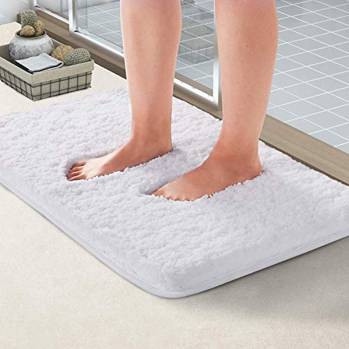 "NORCHO Soft Shaggy Bath Mat Non-Slip Rubber Bath Rug Luxury Microfiber Bathroom Floor Mats Water Absorbent 32""x20"", White"