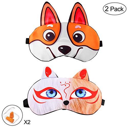 Block Fox (Keemanman Cute Sleep Eye Mask with Gel Pad and Earplugs, Super Soft Breathable Cool & Warm Therapy Sleeping Mask for Women, Men and Kids(2 Pack) (Corgi+Demon Fox))
