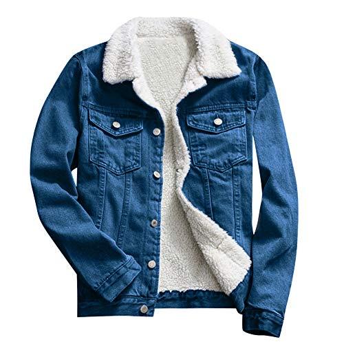 (TOTOD Denim Coat Jean Jacket Women Vintage Upset Outwear Loose Fleece Inner Button Oversize Tunic Streetwear)