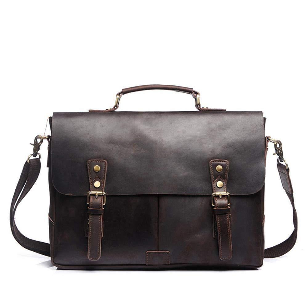 Color : B Botoushipeifangxiaomaipu Mad Horse Skin Series Head Cowhide Briefcase Mens Tote Cross Shoulder Bag Crossbody Bag wear Resistant Waterproof