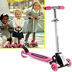 (US Stock) Kids Scooter 3 Wheels Foldable Portable Adjustable Push Scooter,Birthday Christmas Gifts for Boys Girl (2-16)