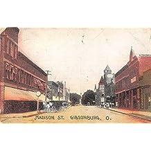 Gibsonburg Ohio Madison Street Antique Postcard J64966