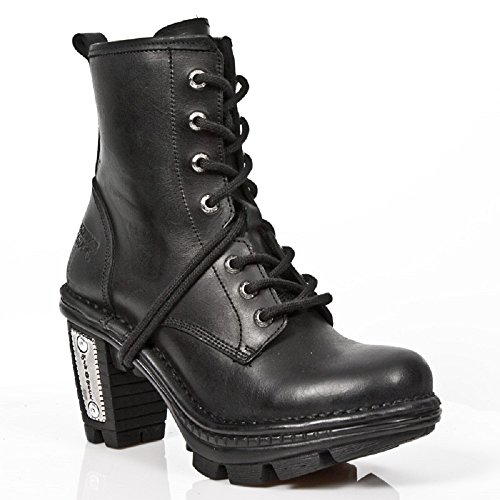 NEWROCK New Rock Womens Black Leather Silver Heel Biker Boots - M.NE0T008-S1