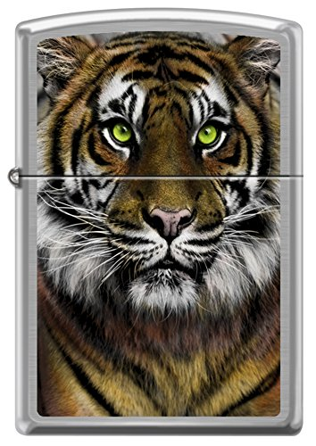Golden Bengal Tiger Green Eyes Big Cat Zippo Lighter