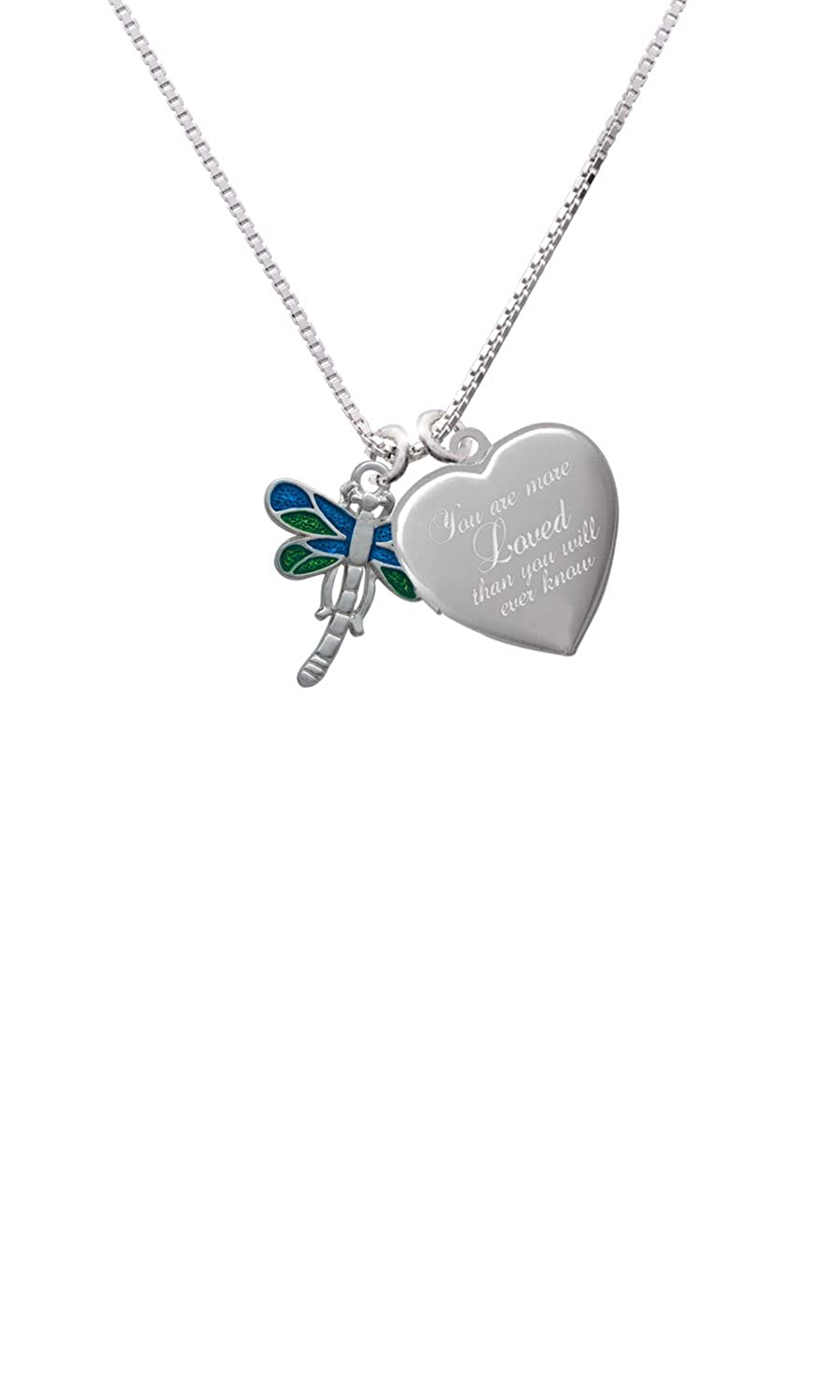 Dragonfly with Green /& Blue Wings Custom Engraved You are more Loved Heart Locket Necklace