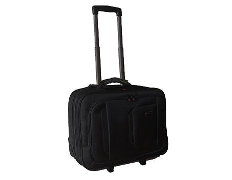 Maleta para ordenador Maletín portátil iPad equipaje de mano con ruedas (506 Negro)