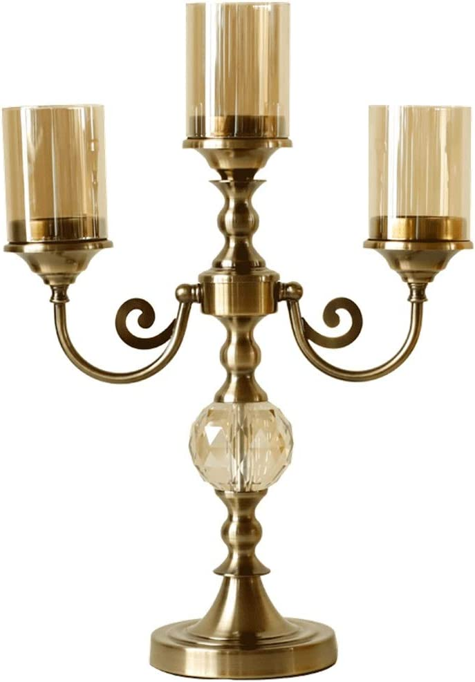 キャンドルホルダー クラシックメタルの三頭燭台レトロリビングルームダイニングテーブルエントランス装飾 装飾キャンドルホルダー (Color : Gold, Size : 49.5x35cm)