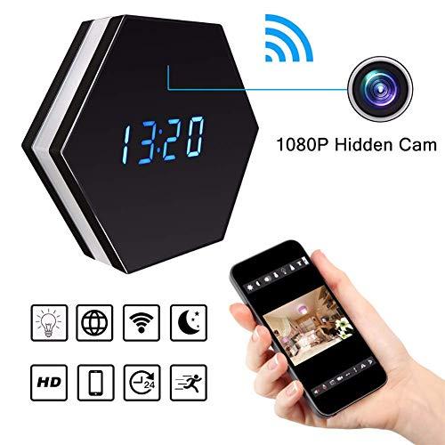 Balscw-J Mini cámara Reloj HD 1080P Wi-Fi Inteligente LED luz Reloj Espejo con visión Nocturna de Dos vías Audio...