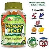NOMMY BEARS Vegetarian Complete Multivitamin Gummies for Kids, Men, Women & Children •14