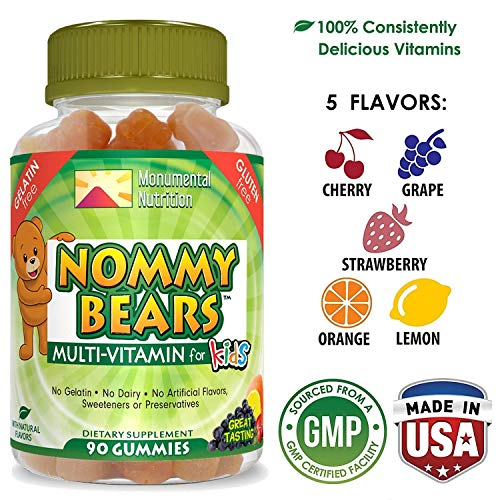 NOMMY BEARS Vegetarian, Gelatin-Free Multivitamin Gummies for Kids, Toddlers, Children •5 Delicious Flavors •14 Essentials •Gluten-Free •Halal/Kosher Friendly •Mommy Approved •Bear Shapes •90 Count ()