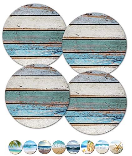 Coasters, Beach Coasters, Stone Coasters, Ceramic, Coasters Set, Modern Coasters, Outdoor Coasters for Drinks, Table Coasters, Cup Mat, Set of 4 No Holder (02109 Shabby Chic ()