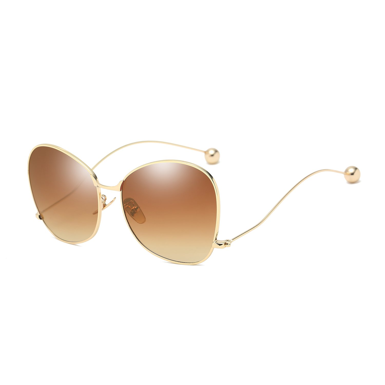 BVAGSS Modern Fashion Women's Sunglasses Mirrored Glasses WS019 (Gold Frame, Brown Lens)