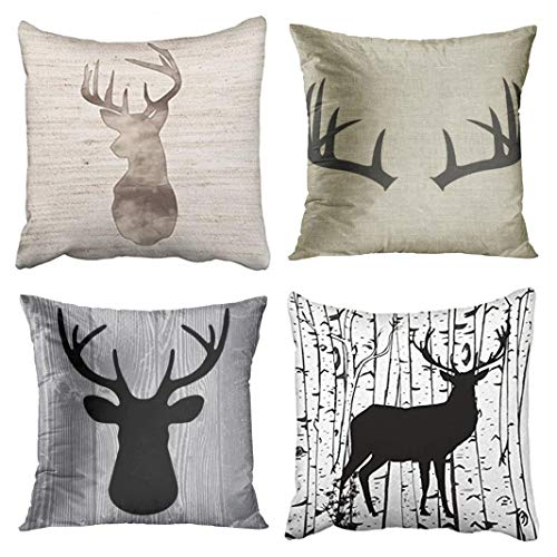 Pillow Deer Toss - Emvency Set of 4 Throw Pillow Covers Deer Rustic Watercolor Head Popular Vintage Antlers Silhouette Pattern Wood Decorative Pillow Cases Home Decor Square 20x20 Inches Pillowcases