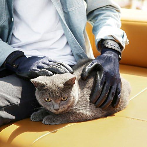 Wolfi Guantes removedores de Pelo para perro calidad PREMIUM color Azul (2 Guantes) Perfecto para Perros Gatos Caballos/Guantes de Aseo y Masaje para Mascota/Cepillo para retirar Pelo (Incluye 2 Piezas) (Par) 8